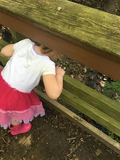 Gwennie Goose Gwinning Toddlerlife Bridge Gwenniegoose Creek Outside MapleWoods Water Sillygirl