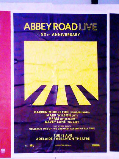 AbbeyRoadLive Abbey Road Live The Fab Four The Beatles Taking Photos Streetphotography Street Photography 50th Anniversary  Abbey Road Abbeyroad Poster Communication Text Close-up Information Board Signboard Sign