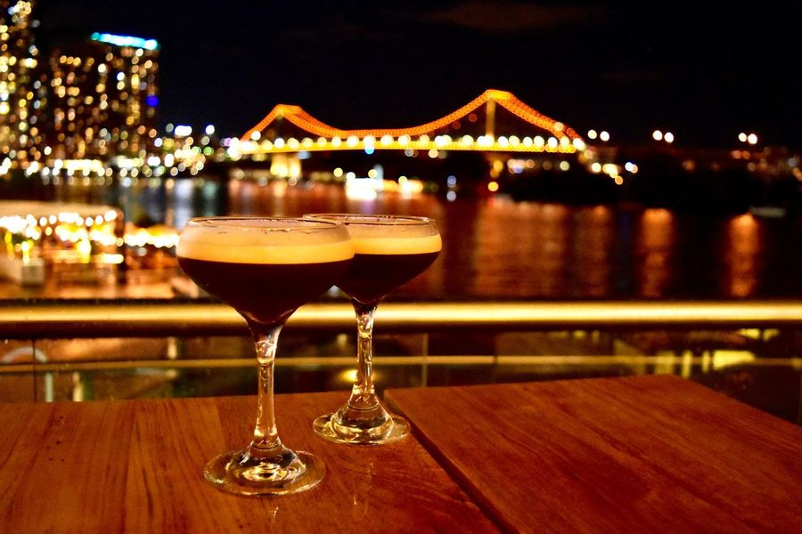 Alcohol Architecture Brisbane Brisbane Australia Brisbane City Brisbaneeyeem City Lights Cityscape Cityscapes Close-up Cocktails Drink Expresso Martini Focus On Foreground Food And Drink Illuminated Night No People Sky Storey Bridge Table Travel Connected By Travel