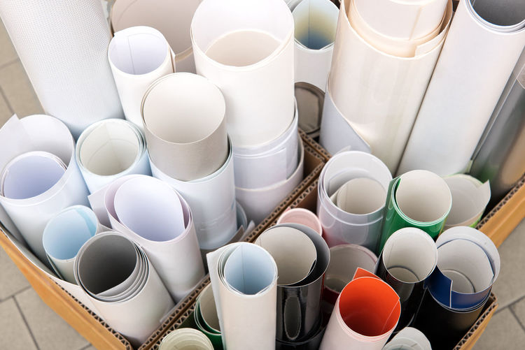 Paper rolls in boxes Office Printing Top Choice Different Group Lenght Paper Printworks Rolls Sheets Still Life Supplies Variation