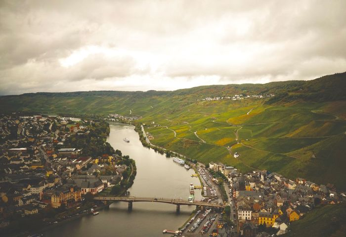 Mosel Water River Sky No People Built Structure Day Outdoors Building Exterior High Angle View Cloud - Sky Transportation Architecture Scenics Landscape Bridge - Man Made Structure Nature Aerial View Beauty In Nature Mountain Tree Bernkastel-Kues