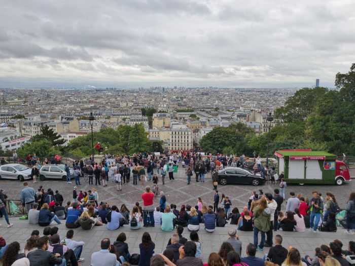 People looking to Paris from the stairs of Sacre Couer Paris Large Group Of People Crowd People Travel Destinations Cloud - Sky Cityscape Vacations Paris, France  City City Life Tourism Tourists Destination Sacre Coeur Destination Paris View Megapolis Montmartre Outdoors Overcast Overcast Sky Montmartre, Paris Holiday Vacation Europe_gallery