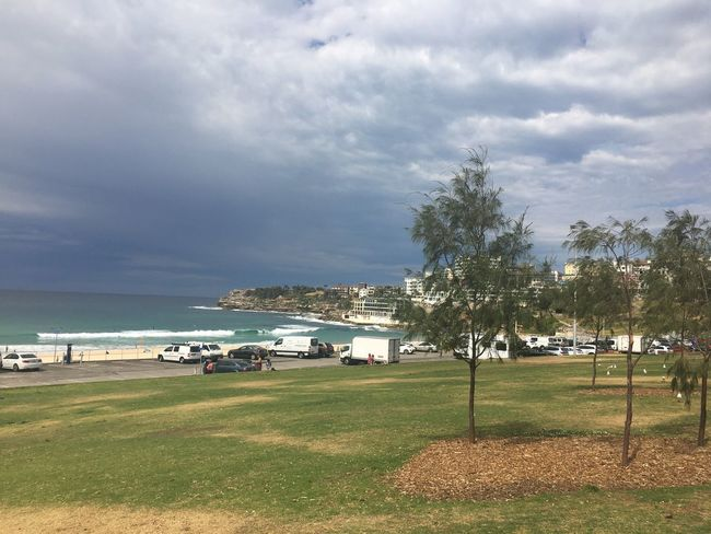 Bondi Beach, Sydney. Sky Cloud - Sky Nature Beauty In Nature Grass Outdoors Day Tree Scenics Tranquility Sea Tranquil Scene Landscape Architecture Built Structure Water No People Building Exterior Beach