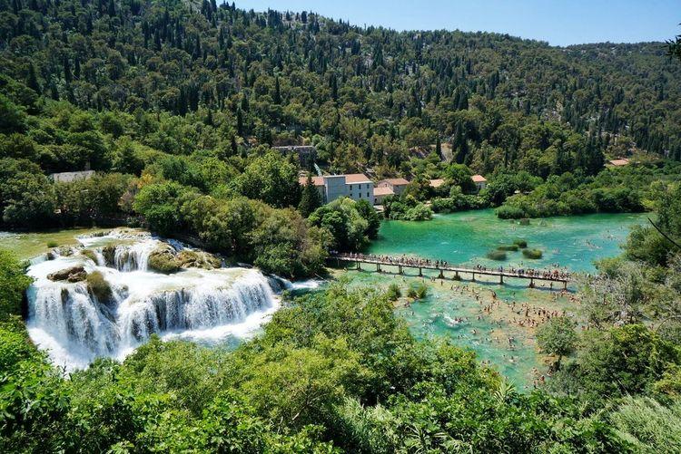 Krka Falls in Croatia Tree Water Nature Green Color Outdoors Beauty In Nature No People Day Scenics Growth Sky Waterfall Waterfalls Krka National Park Krka Krka Waterfall Croatia