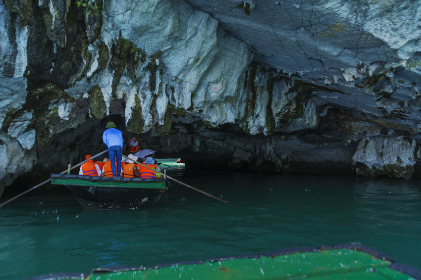 Adventure Beauty In Nature Cave Day Men Nature Nautical Vessel Oar One Person Outdoors People Real People Rock - Object Rock Formation Scenics Transportation Vietnam Halong Bay Water Waterfront