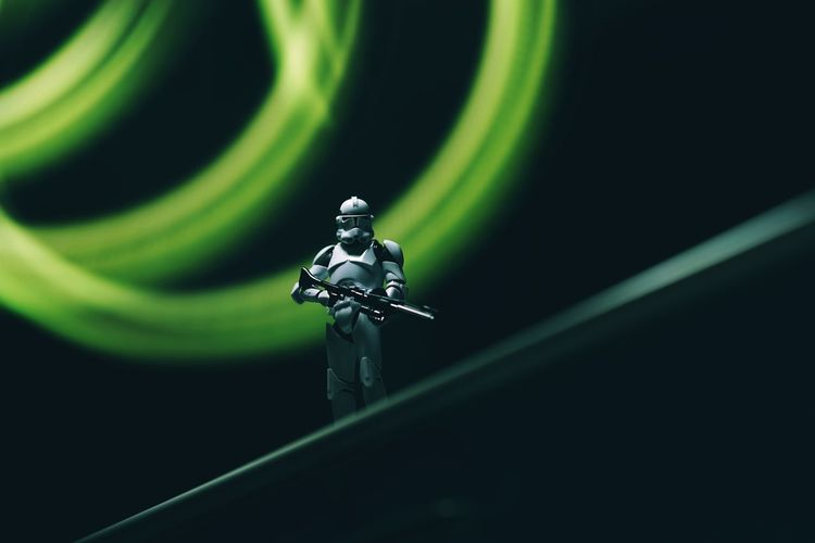 Star Wars Clonetrooper Clone Trooper Star - Space Hobby Toys Scale Model Scale Model Photography Close-up Studio Shot No People Black Background Green Color Indoors  Night Nature Metal Selective Focus Religion Spirituality Human Representation Dark Single Object Security High Angle View Light Painting