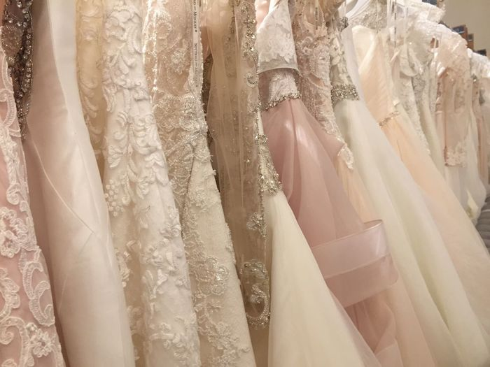 Delicate Blush White Off White Gold Retail  Backgrounds Store No People Textile Variation Wedding Dress Indoors  Wedding Choice Close-up Day Bridal Shop Wedding Bride To Be Lace Tulle Bridal Bride Wedding Dress Wedding Dresses The Fashion Photographer - 2018 EyeEm Awards