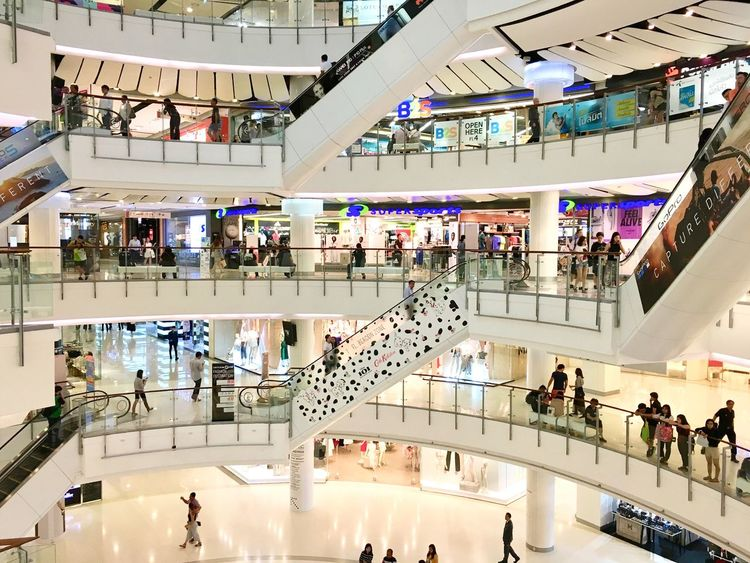 A mall in Bangkok Large Group Of People Indoors  People Lifestyles Architecture Crowd High Angle View Modern Interior Design