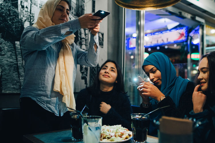 Group of people in restaurant