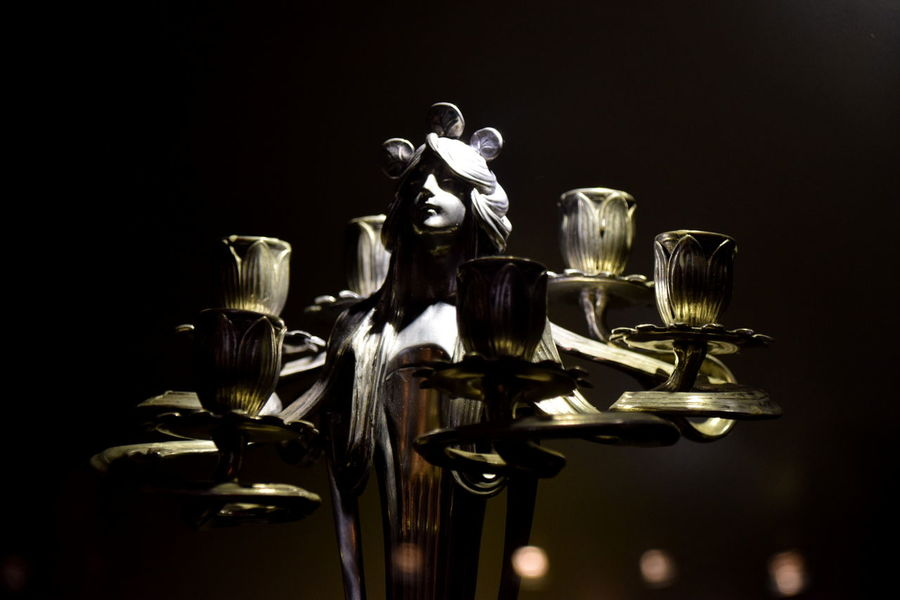 Art Art And Craft Art Deco Art Deco Style ArtWork Black Background Candle Close-up Lalique Monochrome No People