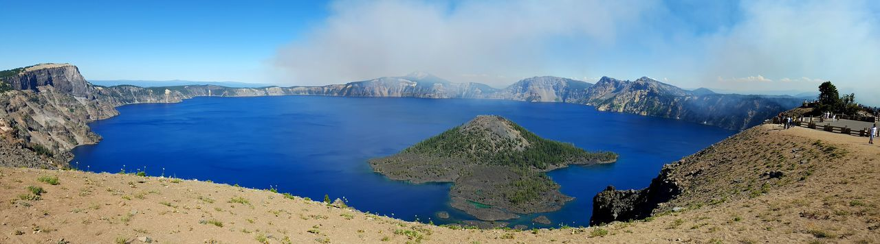 Panoramic View Of Crater Lake Against Sky At Oregon