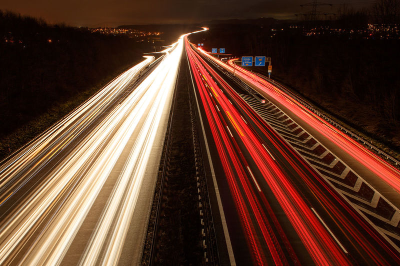 A8 Autobahn Bridge - Man Made Structure City City Street Highway Illuminated Light Trail Lights Long Exposure Motion Multi Colored Night Nightphotography No People On The Move Outdoors Red Road Speed The Way Forward Traffic Transportation Travel Destinations White