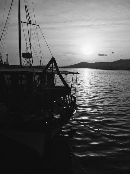 @ Kavala In Greece  Greece Sea Sunset Ship Boat