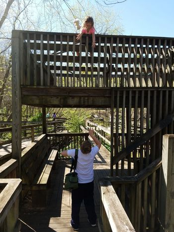 Glen Hilton Park Springtime My Daughter ❤️ Josie ❤ Athen ♡ Kids Shadows & Lights Woodlandwalks Wooden Structure My Son Kids Playing Playing Games Catch The Moment Freeze Shots Playing Catch