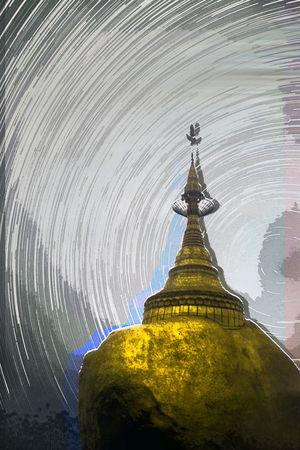 Golden Rock Illuminated No People Outdoors Sky Temple - Building Tourism Travel Destinations