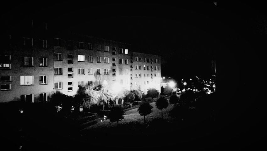 Night Architecture Building Exterior Illuminated Residential Building House Built Structure Outdoors City No People Cityscape Tree Apartment Sky