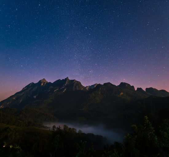 Night view of Doi Luang Chiang Dao mountain with stars on sky,The famous mountain for tourist to visit in Chiang Mai,Thailand. Doi Luang Chiang Dao Galaxy Thailand Astronomy Beauty In Nature Galaxy Idyllic Landscape Milky Way Mountain Mountain Range Nature Night Outdoors Scenics Silhouette Sky Space Star - Space Star Field Star Trail Starry Tranquil Scene Tranquility Tree