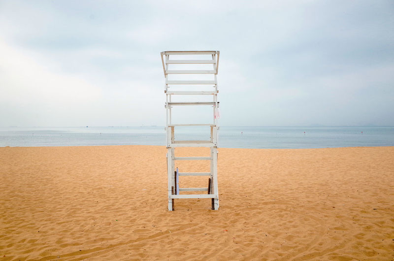 Absence Beach Beauty In Nature Cloud - Sky Day Horizon Horizon Over Water Ladder Land Nature No People Outdoors Safety Sand Scenics - Nature Sea Sky Tranquil Scene Tranquility Water