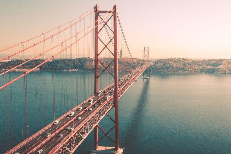 Golden gate bridge over bay of water against sky