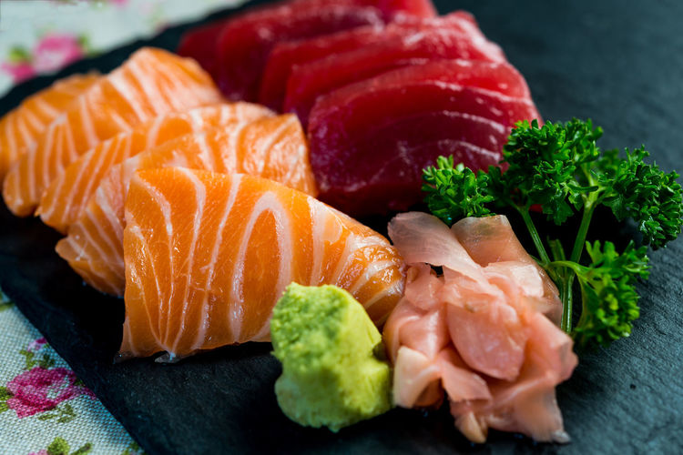 Close-Up Of Sushi On Slate