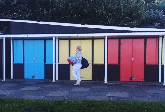 Beach Huts Chalet Filey Seafront Coloured Doors Full Length