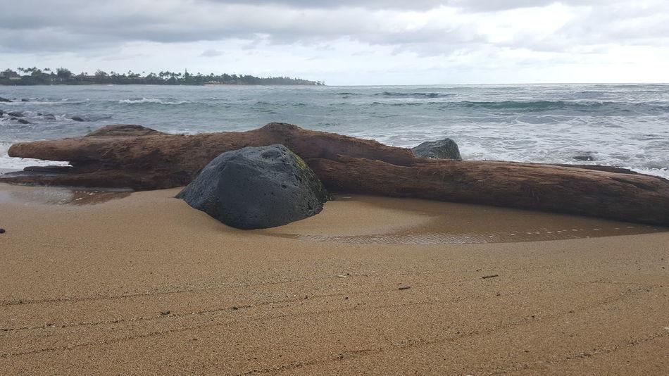 Sea Sky Relaxation Sand Beach Water Cloud - Sky Tranquil Scene Outdoors Beauty In Nature Driftwood Lydgate Beach Beach Photogrqphy Kauai Life Beach Life Rock