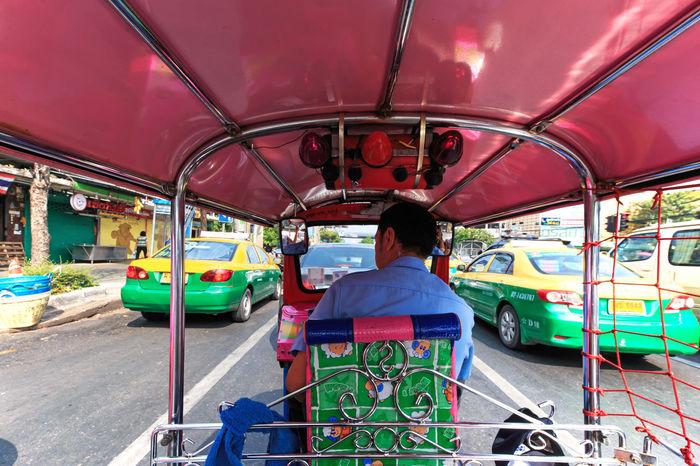 Bangkok, Thailand - April 16,2015: Interior of a Tuk Tuk, the most common mean of transportation in Bangkok Bangkok Casual Clothing Day Leisure Activity Lifestyles Mode Of Transport Sitting Thailand Tuk Tuk Tuk Tuk Bangkok Dangerous