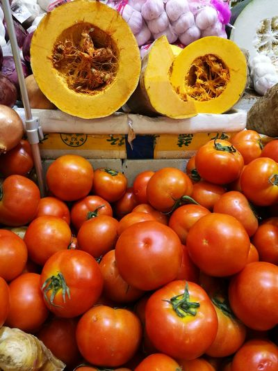 Treasures of the wet market. Fruit Food And Drink Healthy Eating Freshness Abundance Food Market No People Healthy Lifestyle Day Close-up Indoors  HuaweiP9leica HuaweiP9plus Leica Lens HuaweiP9 Colours Rich Colours Tomatoes🍅🍅 Pumpkins For Sale Pumpkins, Food, Ornamental, Pumpkins On Display Yellow Orange Color