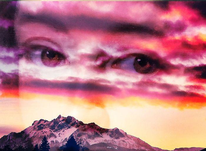 Digital composite image of man against dramatic sky