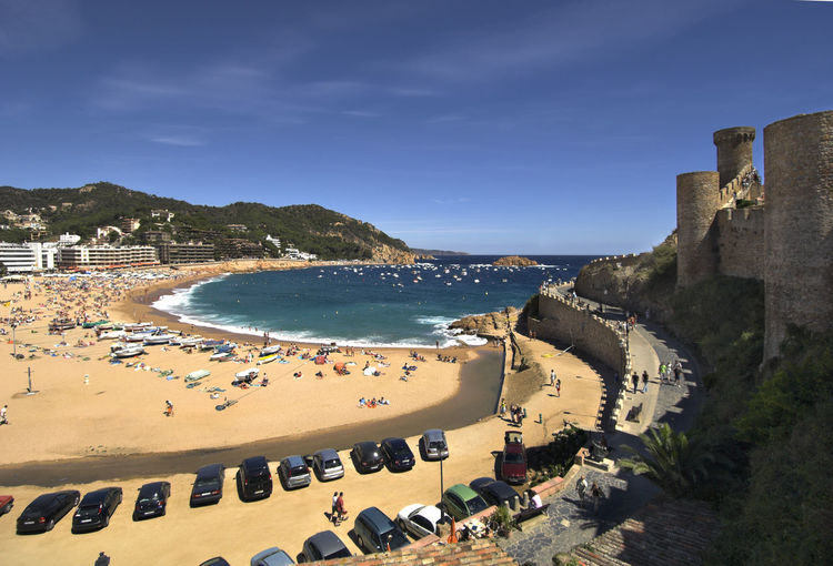High angle view of castle by beach at tossa de mar