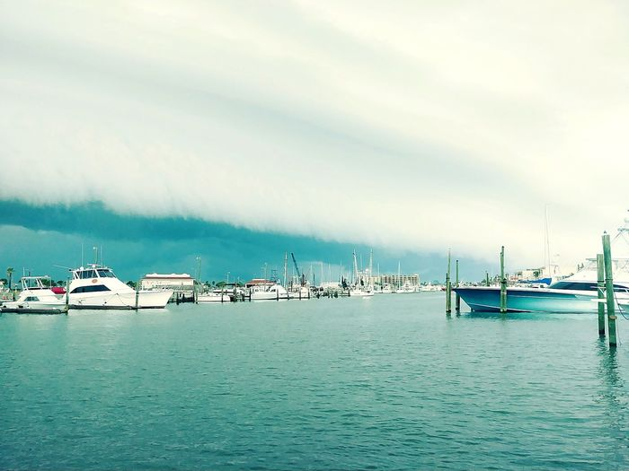 Storm Wall Storm Cloud Funnel Wicked Weather Water Nautical Vessel Harbor Yacht Sea Moored Commercial Dock Jetty Sailing Ship Pier Lightning Thunderstorm Overcast Atmospheric Mood Dramatic Sky Weather Storm