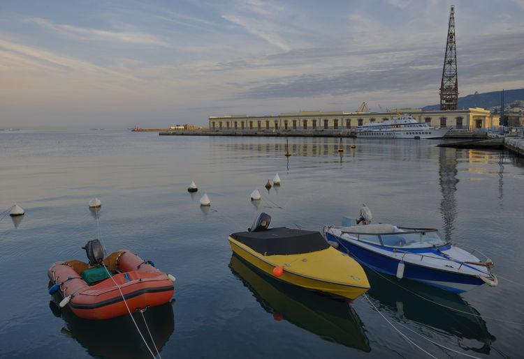 https://en.wikipedia.org/wiki/Port_of_Trieste Blue Boat Friuli Venezia Giulia Porto Di Trieste Red Sky Tourism Tranquil Scene Trieste Water Yellow