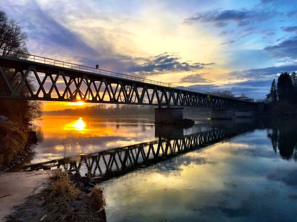 Bridge - Man Made Structure Connection Sunset Water Built Structure Cloud - Sky Sky Architecture River Engineering Reflection Transportation Outdoors Nature No People Beauty In Nature Day