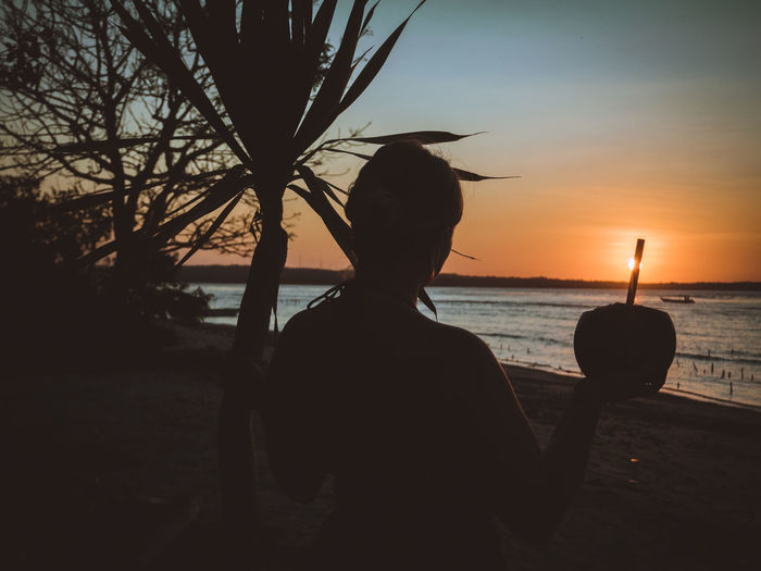 delicious, fresh coconut water Sunset Sky Real People Silhouette Rear View Sea Nature One Person Beach Plant Outdoors Horizon Over Water Scenics - Nature Lifestyles Leisure Activity Drinking Straw Coconut Palm Tree Bar - Drink Establishment Travel Vacation Bali INDONESIA ASIA Paradise EyeEmNewHere