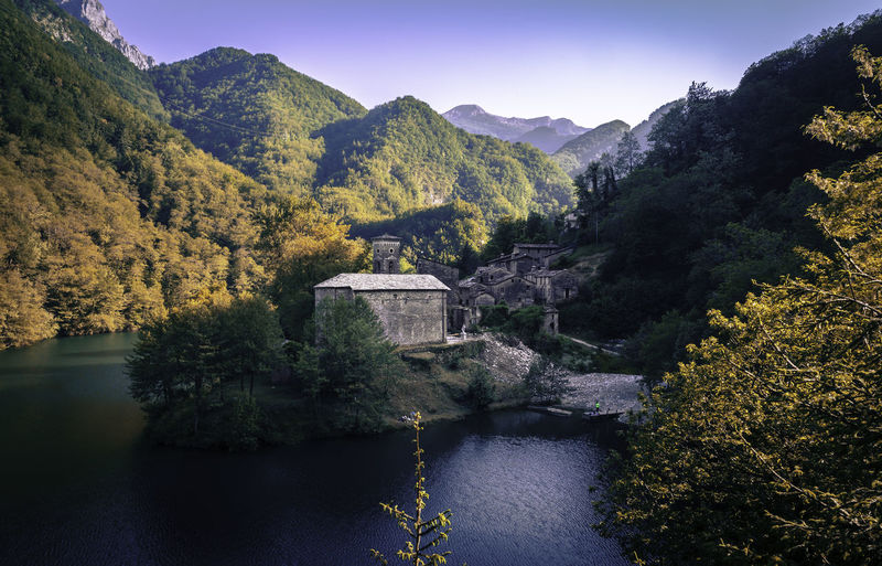 Ancient Architecture Autumn Beauty In Nature Castelnuovo Di Garfagnana Colorful Colors Day Forest Hidden Houses Isola Santa Lake Landscape Mountain Nature No People Outdoors Scenics Sky Stone Tree Trees Village Water