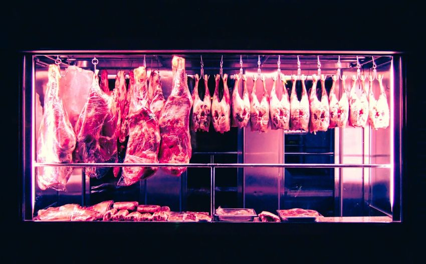 raw meat on display Red Meat Red Purple Raw Meat   Food Raw Food Raw Glass - Material Illuminated Transparent Night No People Window Hanging Food And Drink Freshness Food Arrangement Animal Decoration