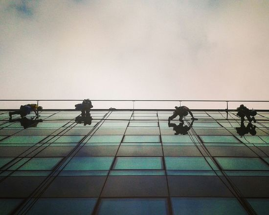 Sky Silhouette Alpinism Window Washers Business Finance And Industry Business Centre