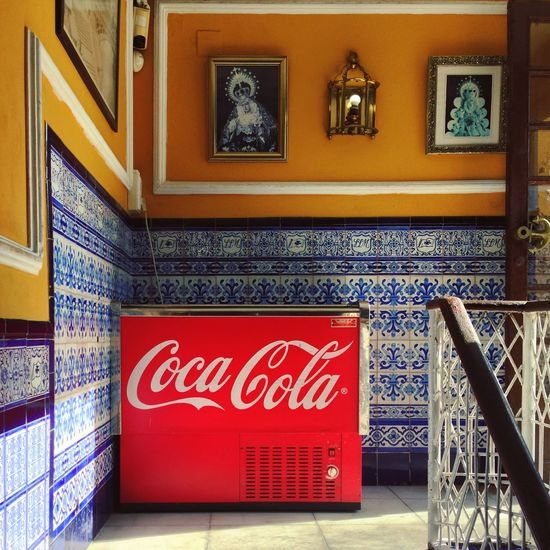 Andalucía Andalusia Architecture Building Exterior Built Structure Coca Cola Cocacola Cooling  Indoors  Interior Design Minimal No People Outdoors Red Stairways Streetphotography Summertime Tile Art Tiled Wall Tiles Tiles Architecture Tiles Textures Tourism Traveling Wall Art
