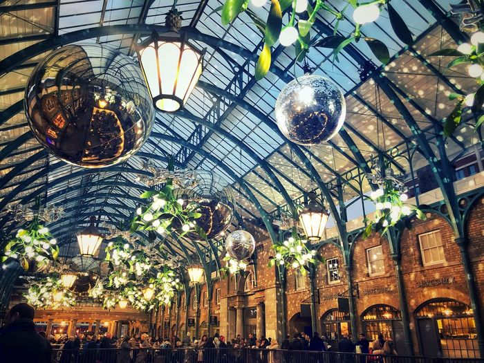 Magical Architecture Market Covent Garden  London Christmas In London Low Angle View Ceiling Lighting Equipment Built Structure Architecture Indoors  No People Decoration Chandelier Pattern Building Ornate