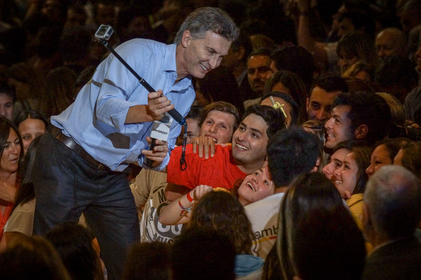 ARGENTINA, Cordoba: Mauricio Macri, outgoing mayor of Buenos Aires and presidential candidate from the opposition Cambiemos ('Let's change') party, addresses supporters at a final campaign rally in Cordoba, Argentina on October 22, 2015. Argentina's general election will take place on October 25. Buenos Aires Campaign Candidate Color Image Election Elections2015 Horizontal Mauricio Macri Opposition Presidential Real People