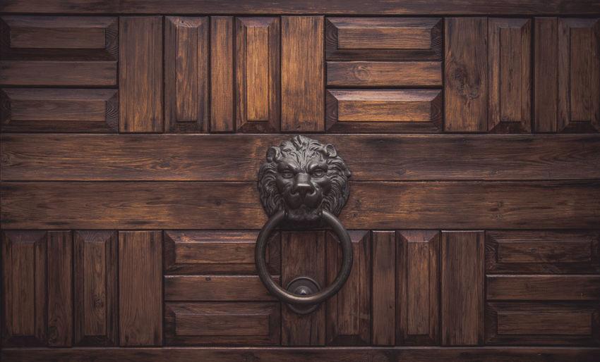 Close-up of knocker on wooden door