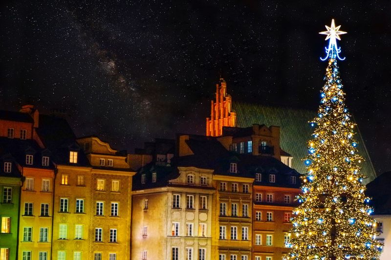 Christmas time in warsaw old town, poland