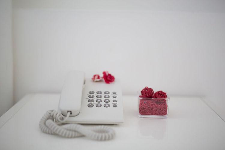 Landline phone on a table