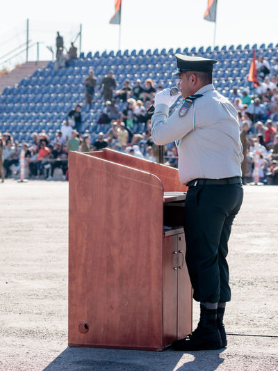 Nahariya, Israel, June 29, 2017 : Ensign of the IDF gives a speech at the evening formation in Nahariya, Israel Army Battle Ceremony Day Defense Education Force Idf Israel Defense Forces Israeli Jewish Military Outdoors Parade Patriotism People Professional Protection Service Soldier Training Uniform War Warrior Weapon
