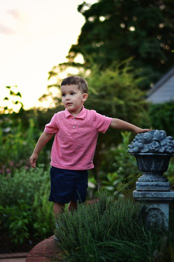 Boy looking away while standing on field