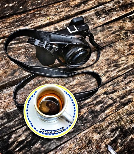 Camera Mug Refreshment Drink Coffee Food And Drink No People Black Coffee Close-up