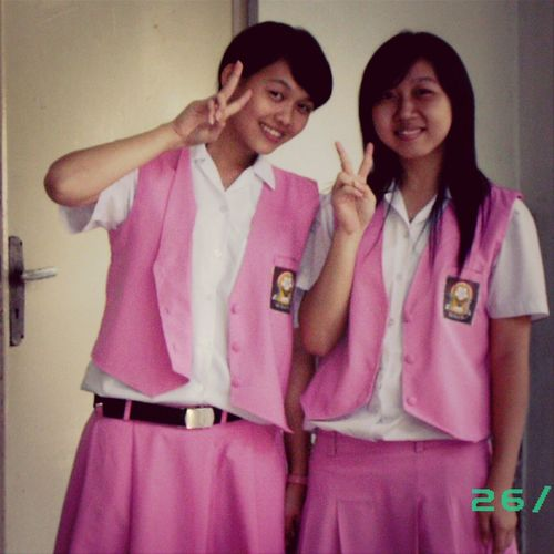 SMA Trinitas Asian Girl School Uniform People