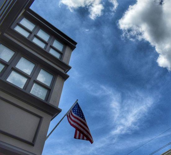 Patriotism Flag Low Angle View Cloud - Sky No People Sky Day Architecture Outdoors USA USA Photos USA FLAG New York New York City Politics And Government