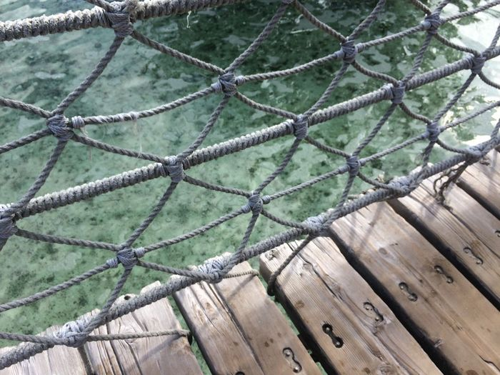 High Angle View Of Rope Bridge Over River
