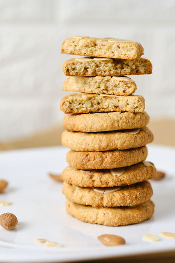 Stack of cookies on table